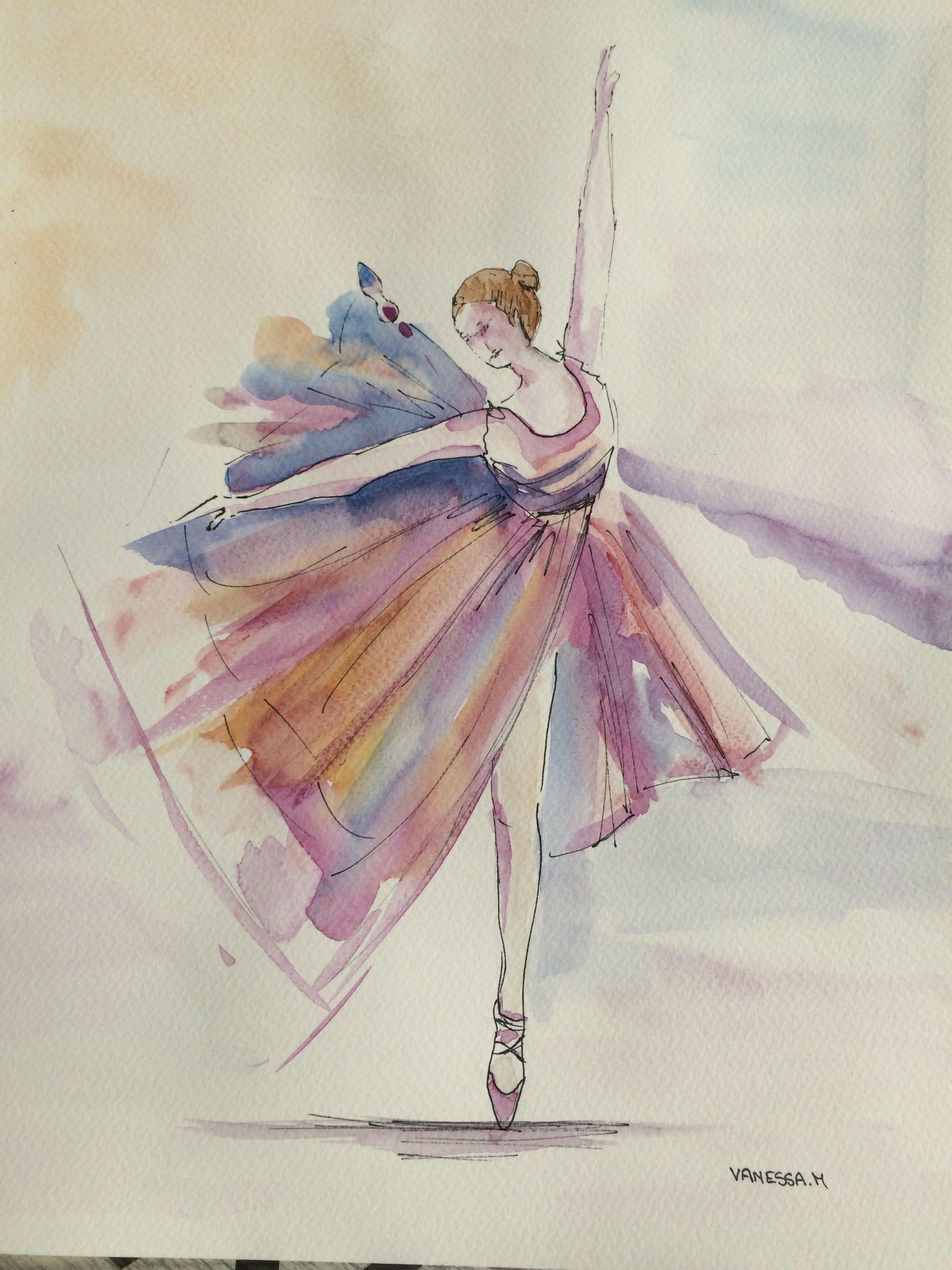 La Danseuse Etoile A L Aquarelle Format 31 41cm Mon Site Www