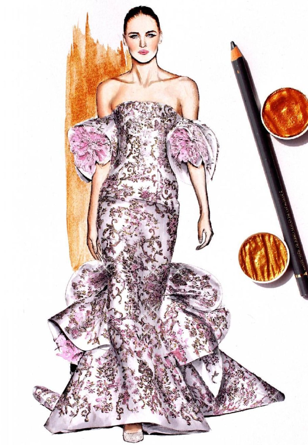 R A L P H § R U S S O Haute Couture Fall-Winter 2017- 2018 @nina.mid.illustration #FashionIllustrations| Be Inspirational ❥|Mz. Manerz: Being well dressed is a beautiful form of confidence, happiness & politeness
