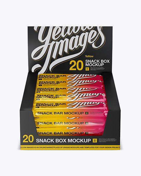Download 20 Snack Bars Display Box Mockup Front View High Angle Shot In Flow Pack Mockups On Yellow Images Object Mockups Mockup Free Psd Free Psd Mockups Templates Bar Displays