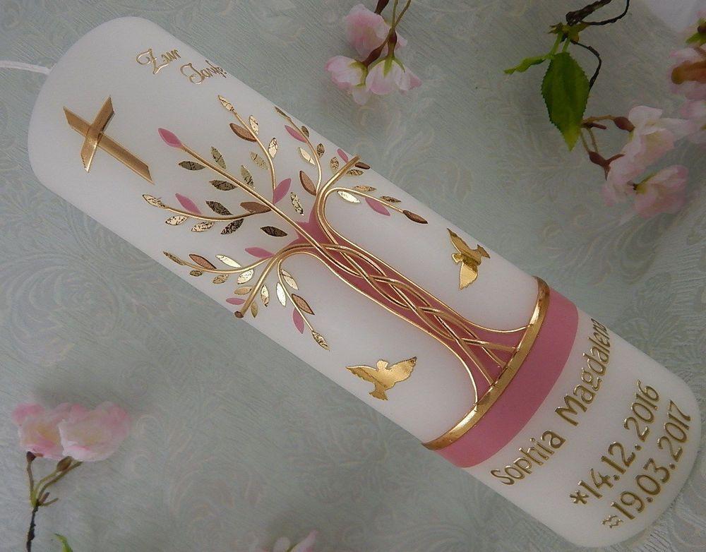 Taufkerze Lebensbaum Taufkerzen rosa gold Taufkerze Junge Mädchen Name und Datum