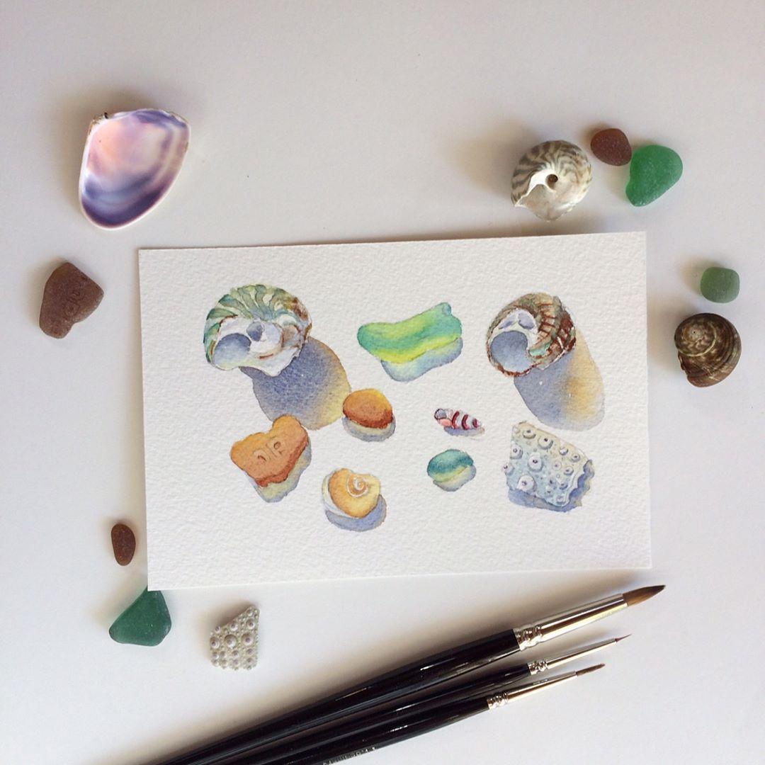 Sea Glass Watercolor By Sheryl Heatherly Hawkins Sea Glass Art