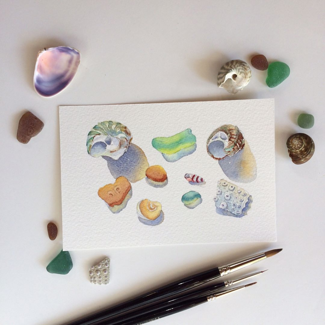 Watercolour Painting Of The Sea Glass Seashells On Arches Paper