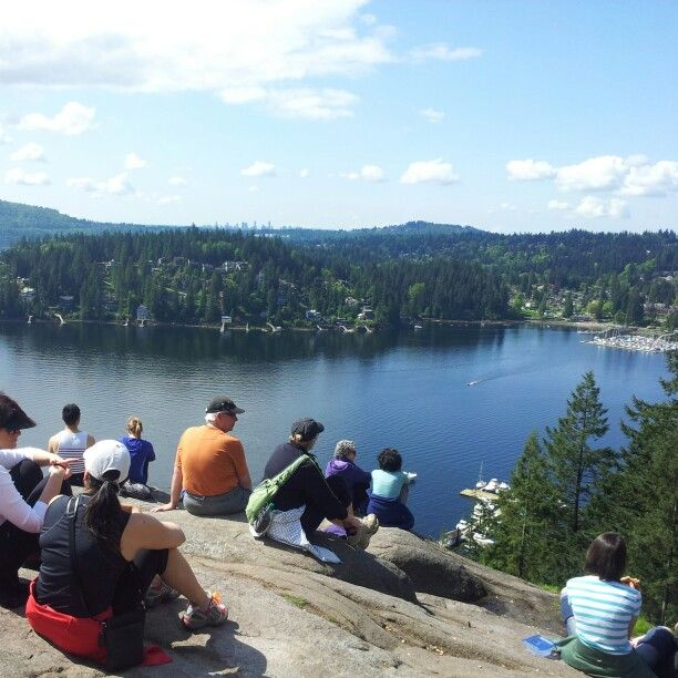 Top of Quarry Rock hike overlooking charming Deep Cove, North Vancouver, BC.
