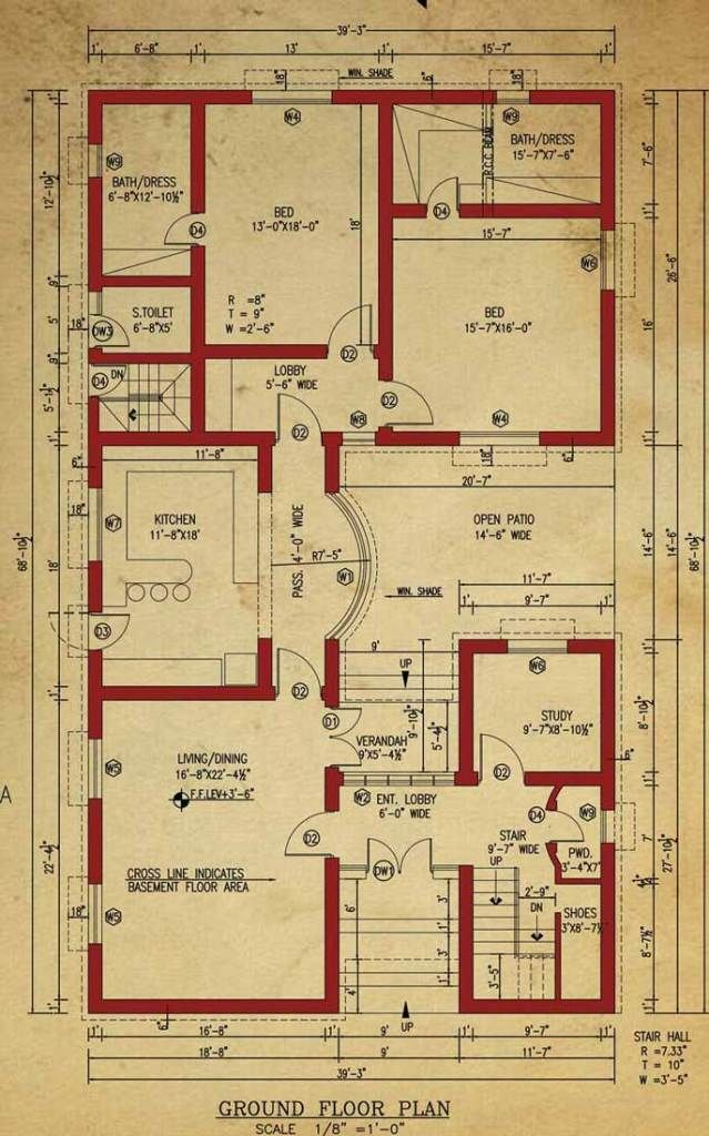 House Floor Plan 1 Kanal House Basement House Plans House Plans One Story House Floor Plans