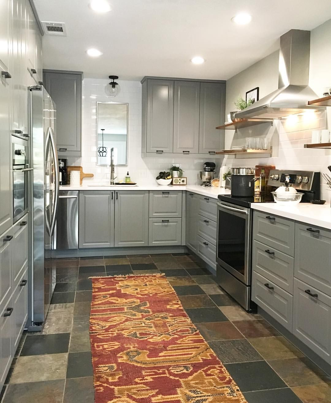 black subway tile kitchen delta addison faucet bodbyn grey ikea white quartz countertops