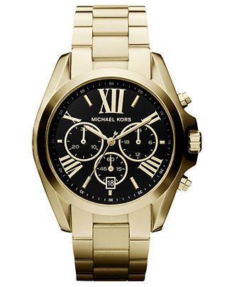 Michael Kors Watch, Womens Chronograph Bradshaw Gold Tone Stainless Steel Bracelet 43mm MK5739 - First @ Macys! - Michael Kors - Jewelry & Watches - Macys