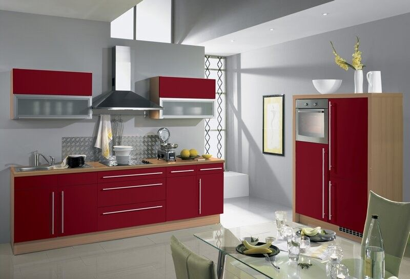 Cuisine rouge et grise qui incarne l id e d une vie - Cuisine design rouge et blanc ...