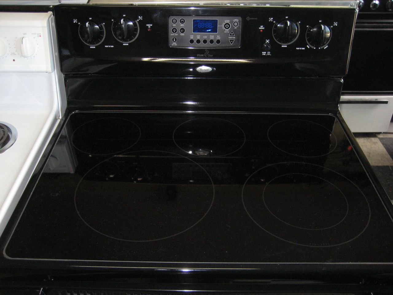 Appliance city whirlpool 30 inch glass top 5 burner free appliance city whirlpool 30 inch glass top 5 burner free standing electric range right front is a dual burner center is warming burner self clean and planetlyrics Choice Image