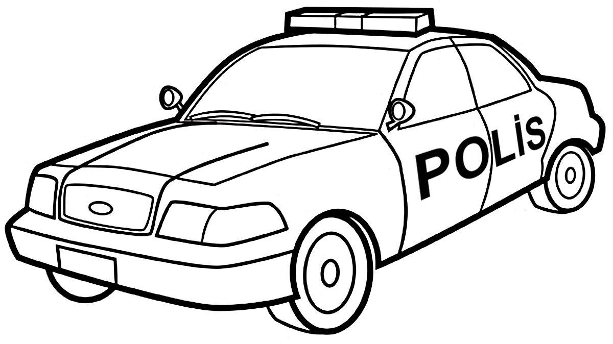 Polis Araba Boyama Boyama Sayfalari Polis Araba