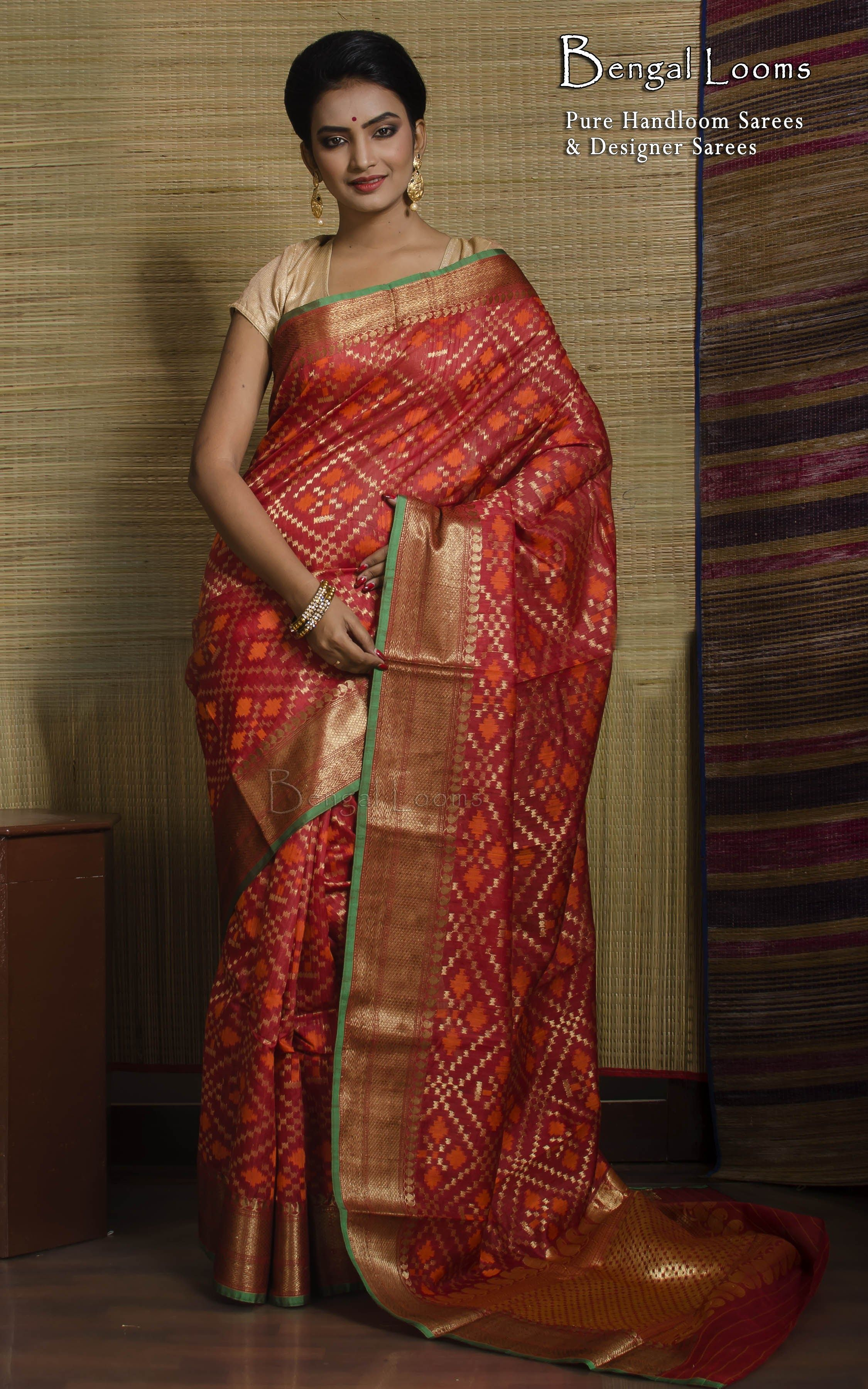 6d876ee564 A beautiful Red color Pure Tussar Silk Patola Ikkat Banarasi Saree  available for Sale from Bengal Looms