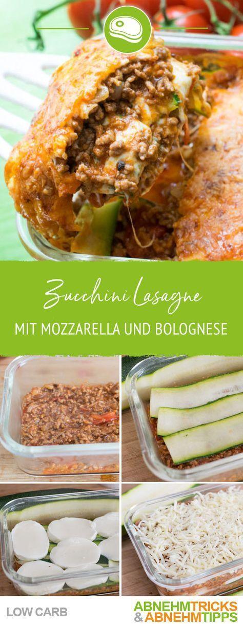 Low Carb Zucchini Lasagne mit Mozzarella und Bolognese #zucchininoodles