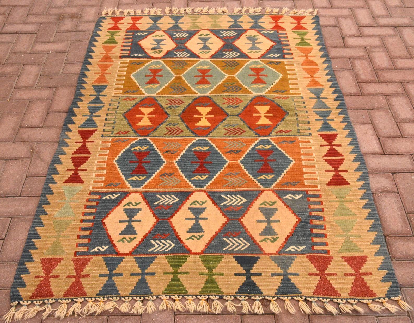 Geometric Design Kilim Vintage Handmade Kilim Turkish Etsy Kilim Woven Tribal Rug Kilim