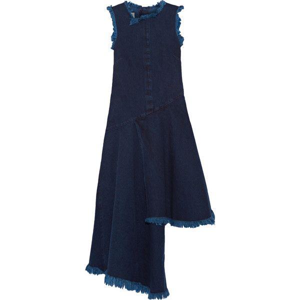 Marques' Almeida Asymmetric frayed denim midi dress ($355) ❤ liked on  Polyvore featuring