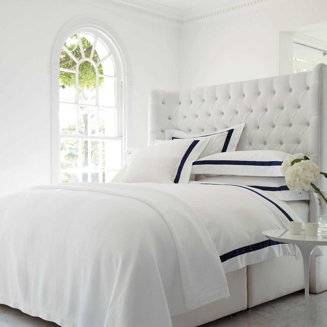 Stunning Winged Headboard With Deep Buttoned Detail Softly Curved