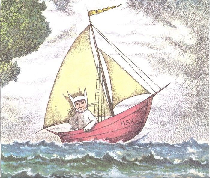 vintage book page max in boat where the wild things are by maurice