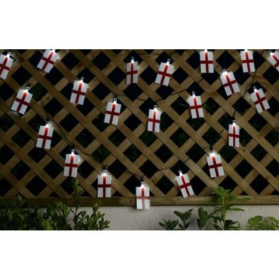 Smart Solar England Flag Lights. Be the envy of all your mates with these England Flag Solar lights. Support your country in style this football season! This is a string of 20 England flags with white energy saving LED lights that light up the flags. Fantastic price of £4.99!! Whilst stocks last!