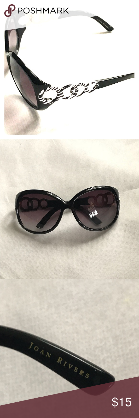 3773b16c6e0b0 Joan Rivers Sunglasses Look of Glamor Black and White Joan Rivers  Accessories Sunglasses