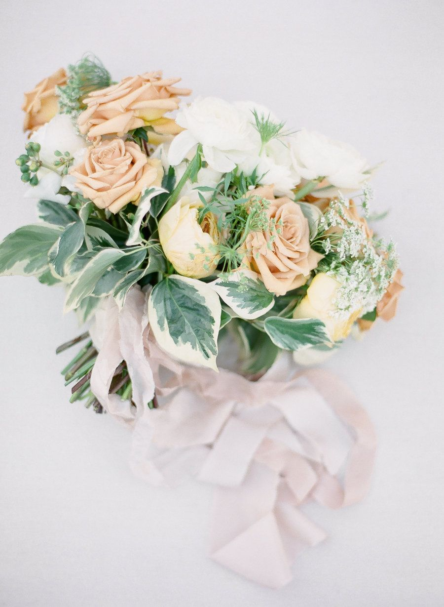 Golden orange rose bouquet: Photography : J. Layne Photography Read More on SMP: http://www.stylemepretty.com/florida-weddings/2016/07/21/grey-pastel-ethereal-wedding-inspiration-styled-photo-shoot/