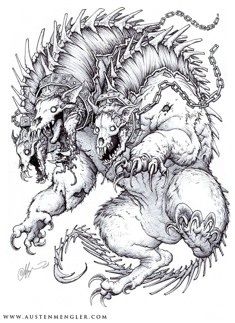 Artstation Cerberus Austen Mengler Cerberus Scary Art Art [ 1101 x 800 Pixel ]