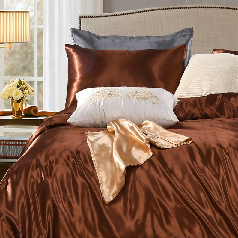 Royal Coffee Brown Duvet Cover Silk Like Soft Silky Bright Comforter Cover Coffee Brown Quilt Cover Hypoallergenic Bedding Sets Brown Duvet Covers Duvet Covers Comforter Cover