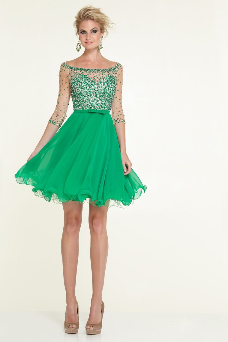bateau a line shortmini length sleeve prom dress with