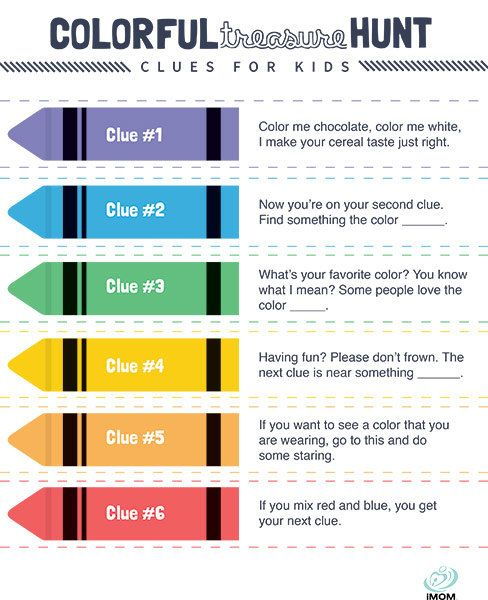 Colorful Treasure Hunt Clues For Kids