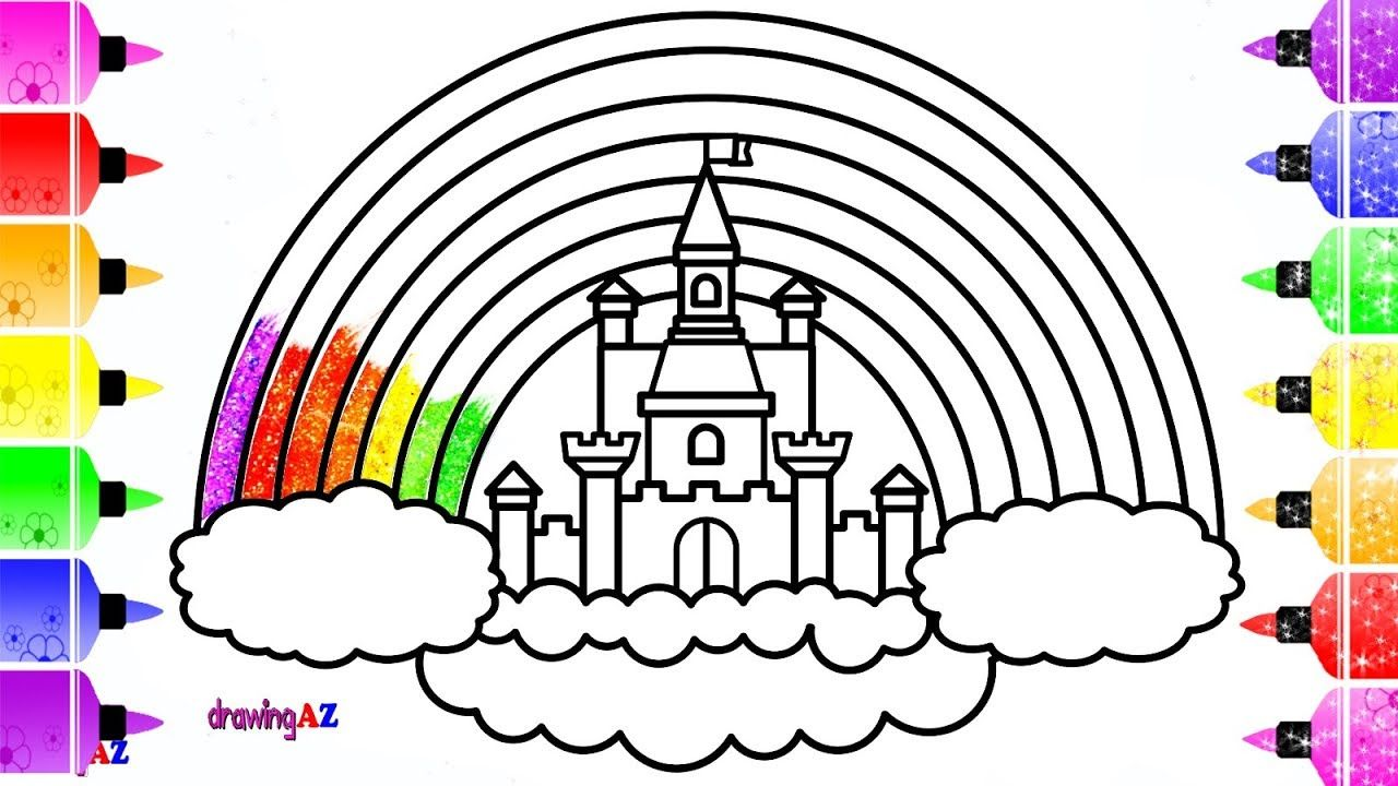 How To Draw Colorful Rainbow Castle For Kids With Glitter