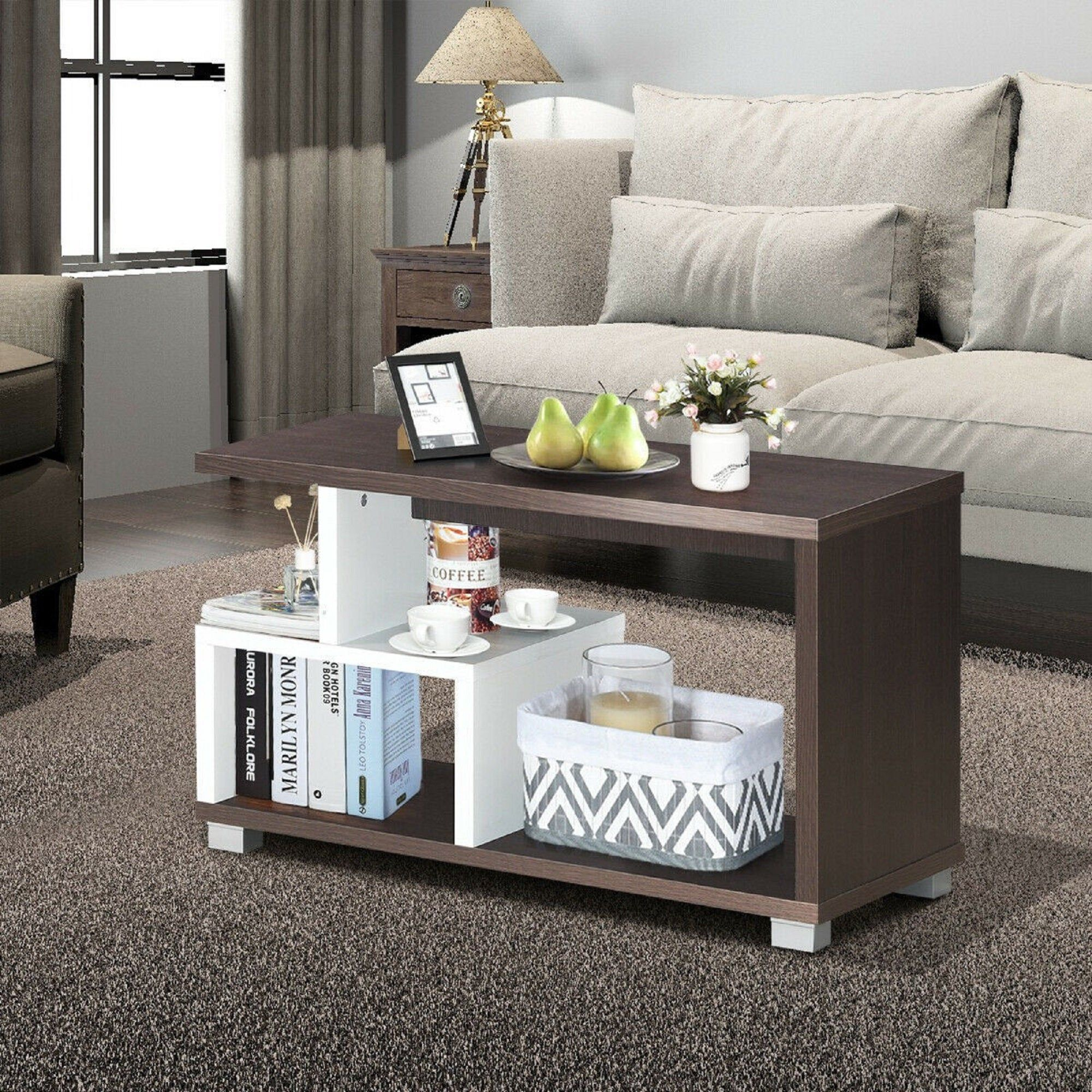 2tier rectangular modern console table coffee table