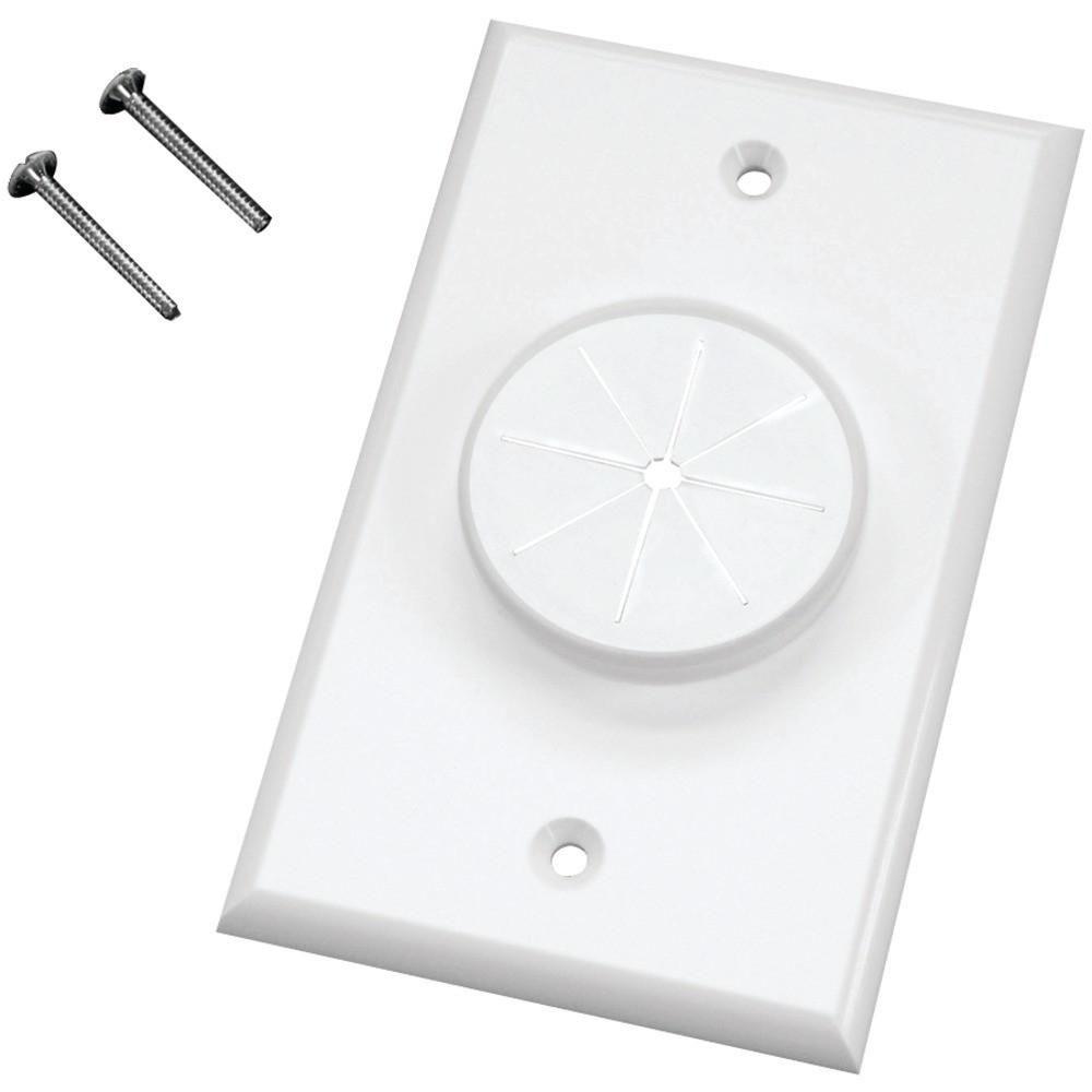 Light Almond DATACOMM 45-0017-LA Split Wall Plate with Flexible Opening
