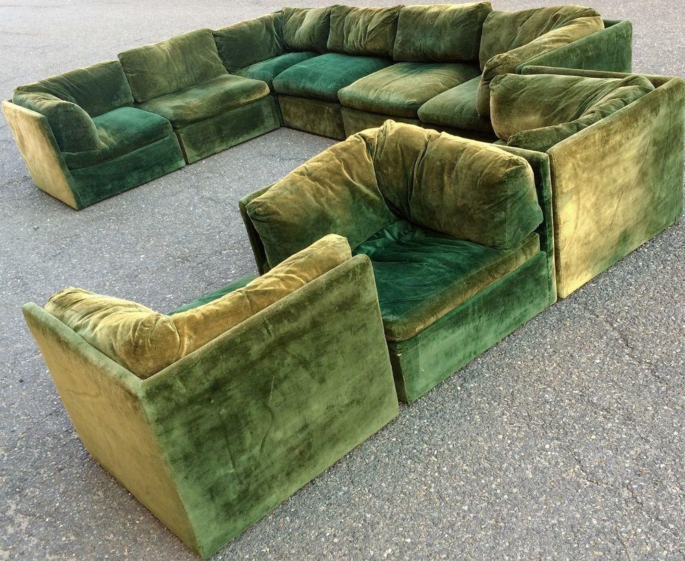 Massive Vintage Thayer Coggin Milo Baughman Playpen Sectional Sofa  #ThayerCoggin