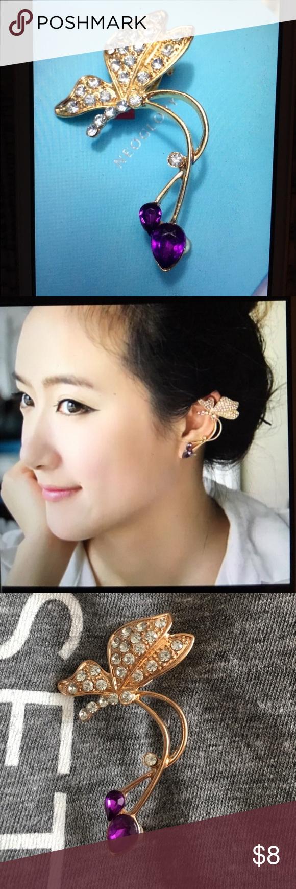 Purple & Gold Ear Earring Left Cuff Descing Asap Jewelry Earrings