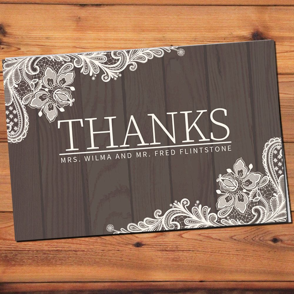 Customized Rustic Wedding Thank You Card | Lace and Wood | DIY Printable | Print Inside and Outside by BohoChicDesigners on Etsy