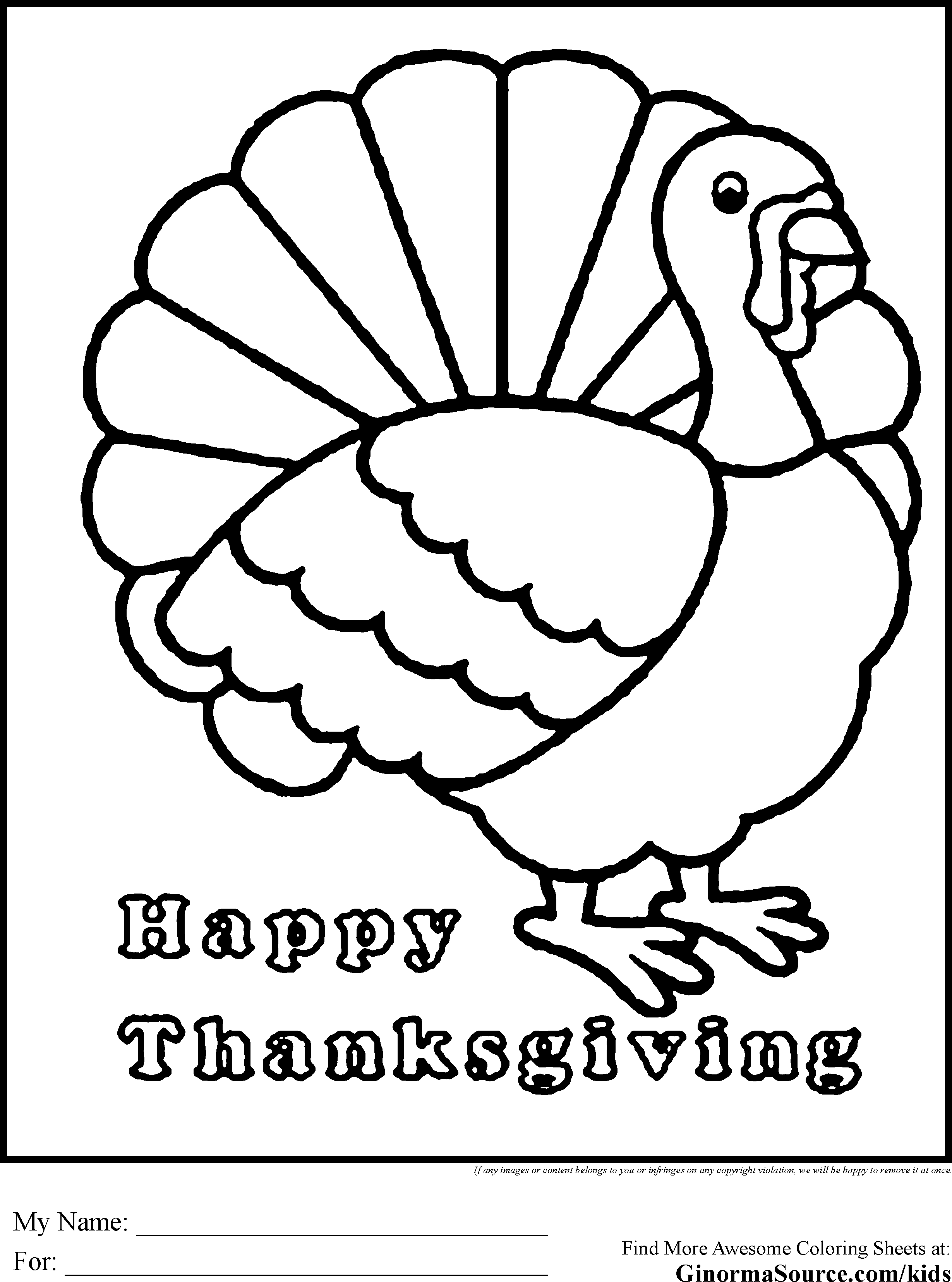 - Turkey Coloring Page (With Images) Free Thanksgiving Coloring