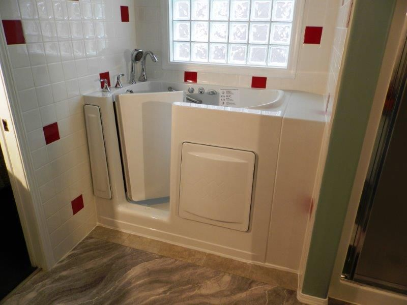 Escape Plus Walk-in Tub with custom tile surround. Left door. www ...