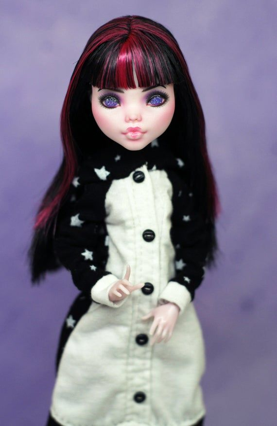 Cute doll in unicorn kigurumi/onesie | OOAK Monster High repaint doll #ooakmonsterhigh