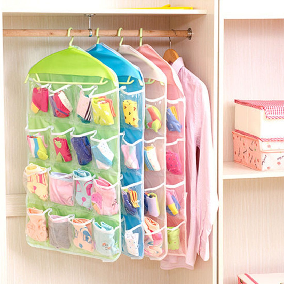 Home Clear Hanging Bag Socks Etc Bra Underwear Rack Hanger Storage Organizer