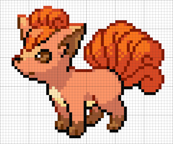 37 Vulpix Minecraft Pixel Art Easy Pixel Art Minecraft