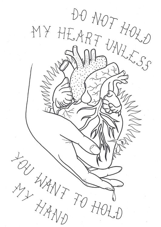 Love Tattoo Outlines: Heart In Hand Tattoo Flash