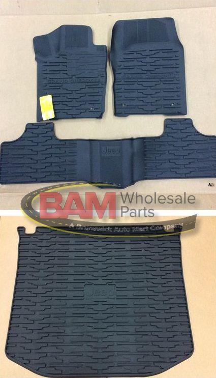 Mopar 2016-2019 Jeep Grand Cherokee Rubber Slush Mats Floor Mats Front /& Rear