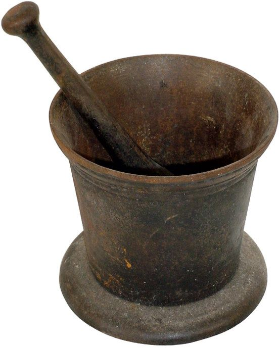 Apothecary mortar & pestle, cast iron, late 1800's