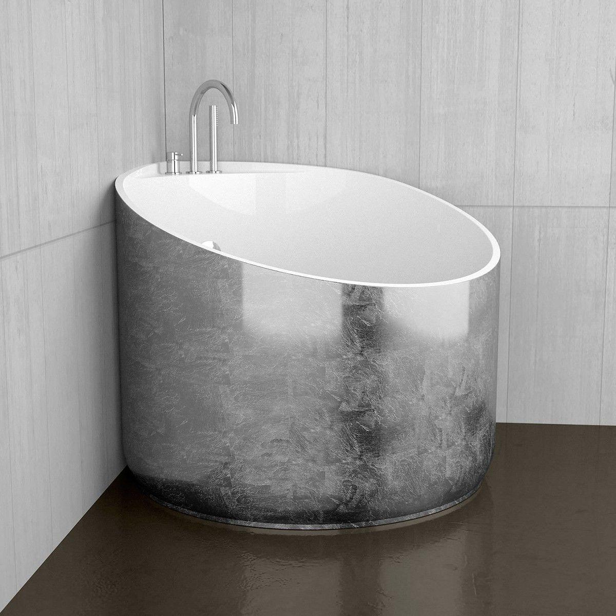 Ws Bath Collections Mini Shower Bathtub In Silver Leaf Glossy