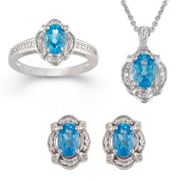 Sterling Silver Pear Blue Topaz Ring,Pendant Necklace and ...