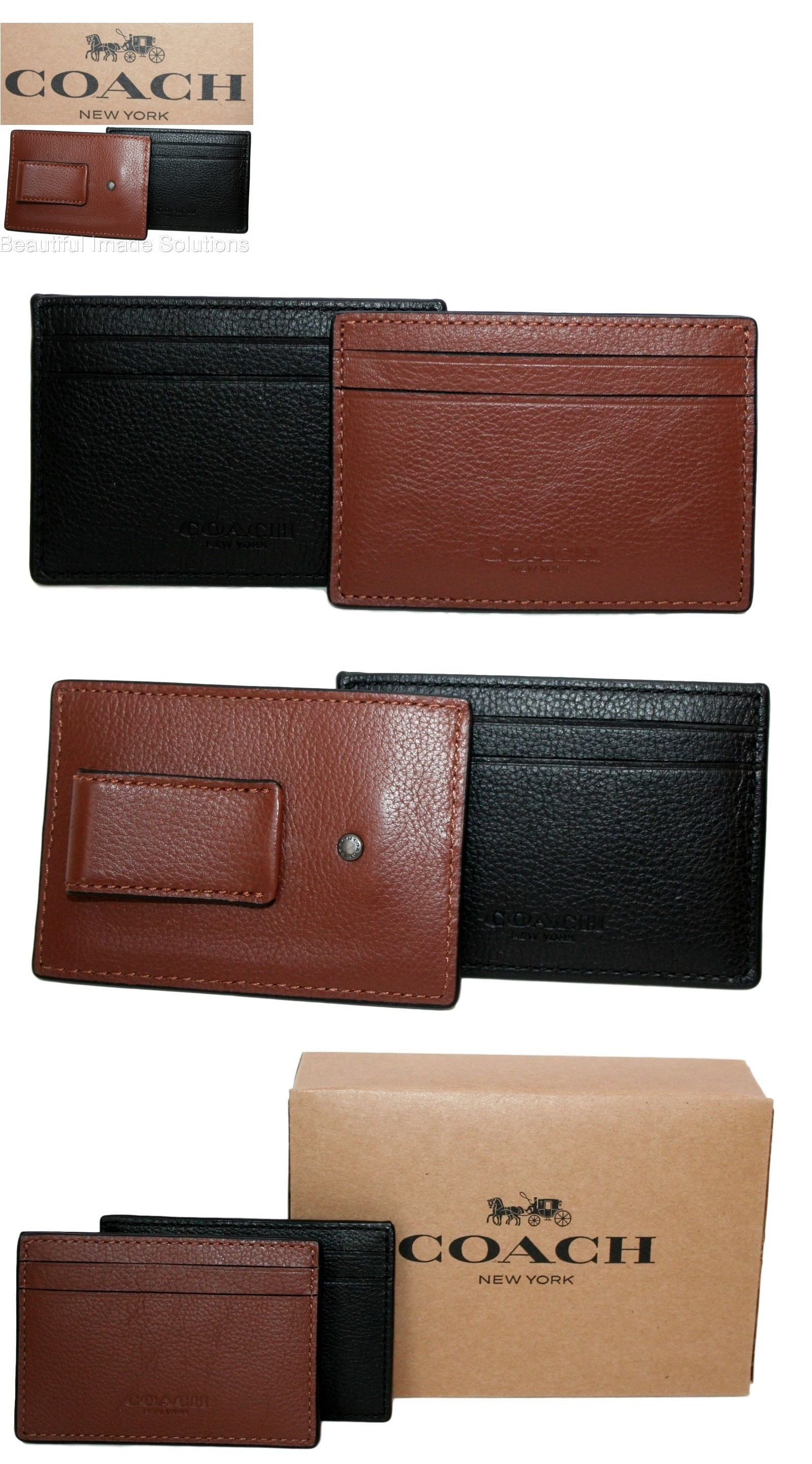 Business and credit card cases 105860 coach men s women s black or business and credit card cases 105860 coach men s women s black or saddle leather reheart Image collections