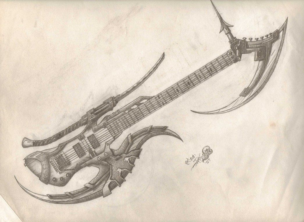 Contour Line Drawing Guitar : Axe guitar drawing draw battle and