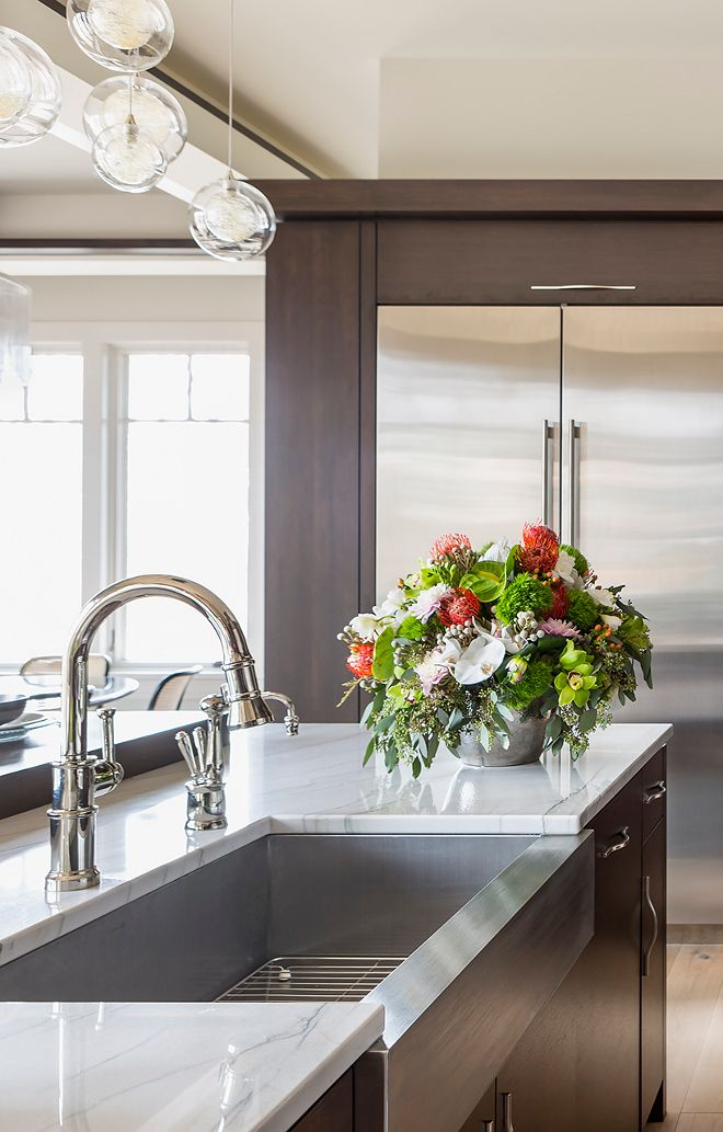 Polished Nickel Kitchen Faucet And Stainless Steel Farmhouse Sink Polished Nickel Polished Nickel Kitchen Faucet Kitchen Sink Design Stainless Kitchen Faucet