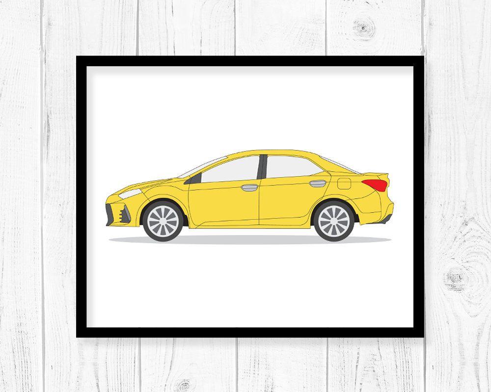 Car printable art, Vehicle Print, Wall decor, Corolla car printable ...