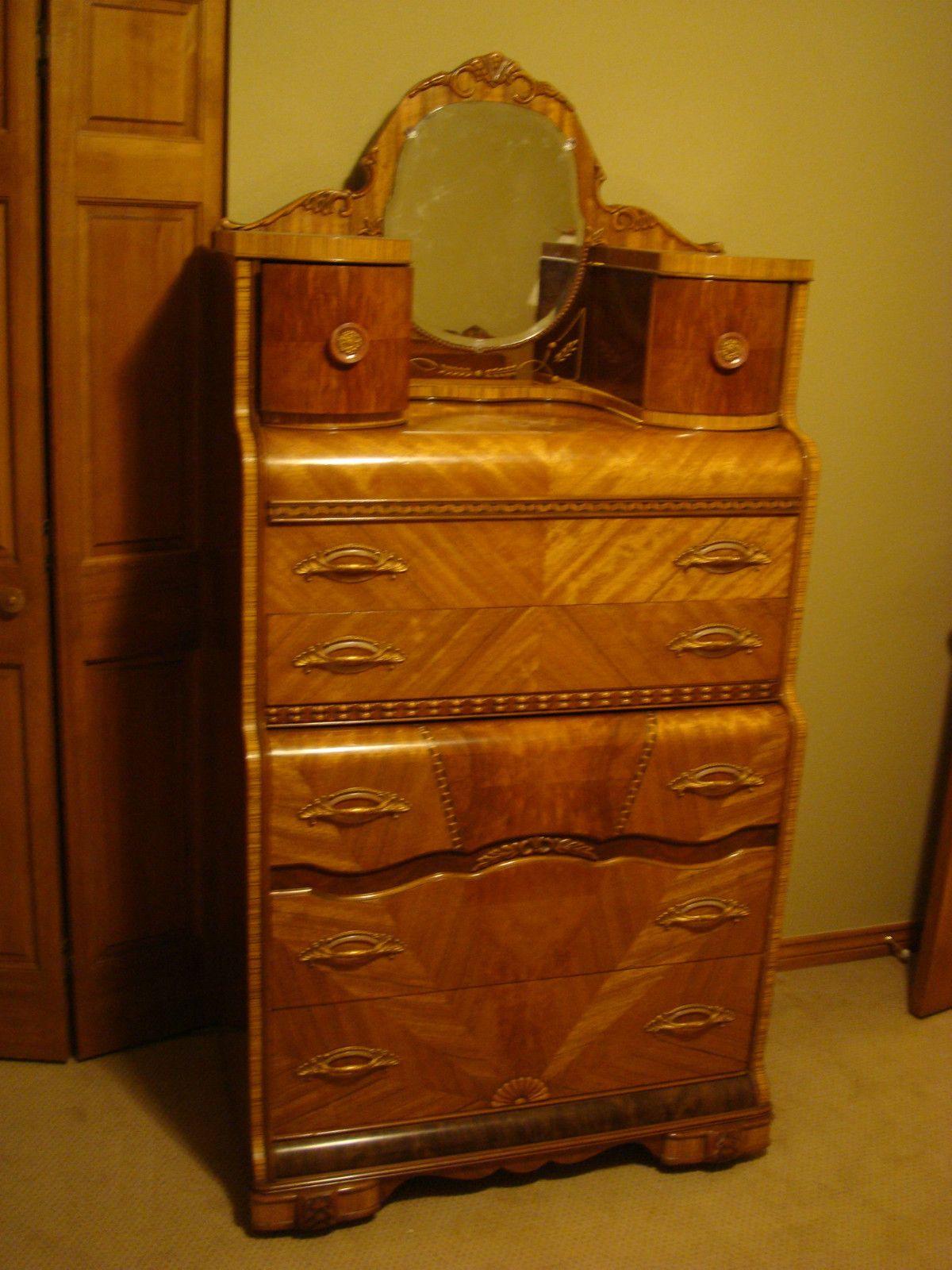 vintage bedroom chair ebay knoll handkerchief gorgeous waterfall set large dresser vanity bed