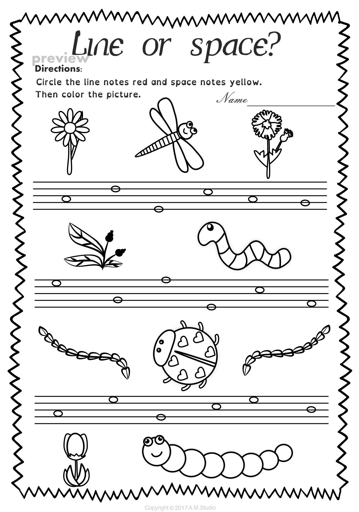 Lines And Spaces Worksheet