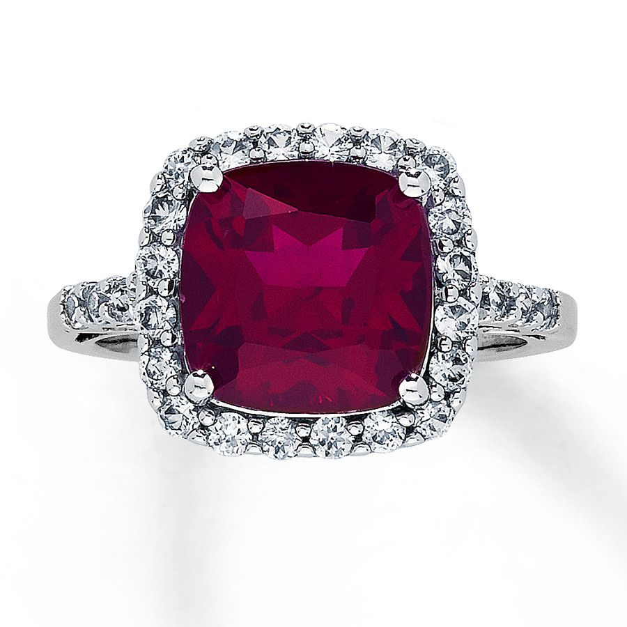 Labcreated Ruby Ring Labcreated Sapphires 10k White Gold