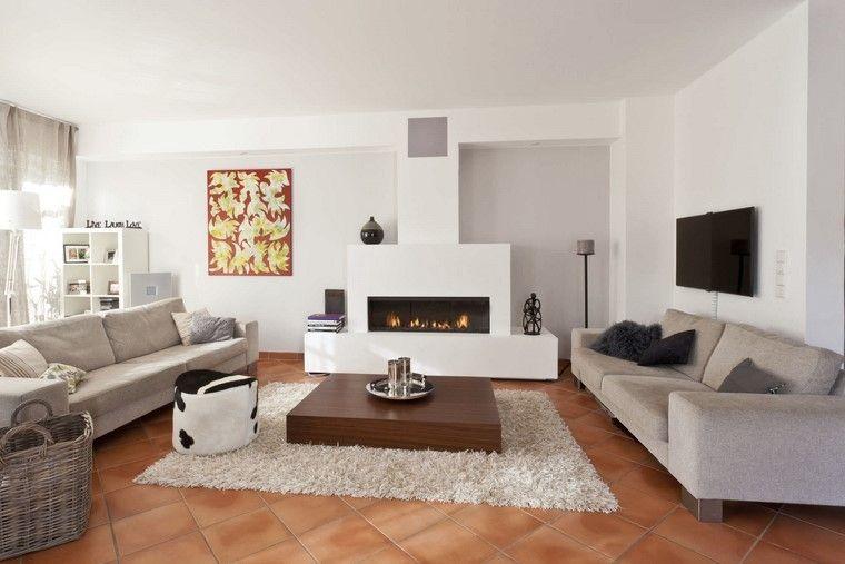 saln con paredes blancas y chimenea moderna - Chimenea Moderna